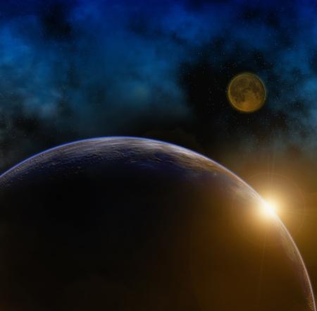 zon maan: Planeet Aarde en de maan Stockfoto