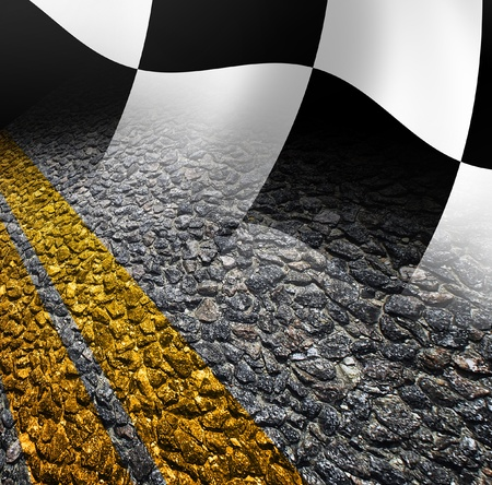 Racing flag and road photo