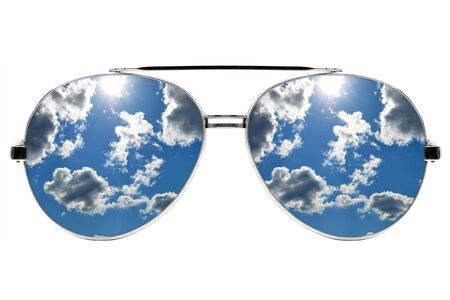 Aviator sunglasses with reflection isolated