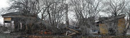 Old destroyed building panorama photo