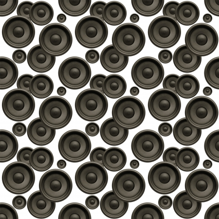 Music background, audio speakers seamless pattern on white photo