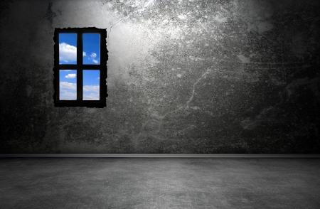 Dark room inter with window Stock Photo - 14524454