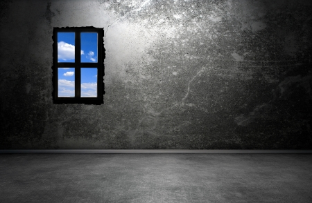 Dark room interior with window