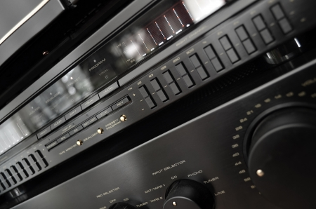 Vintage stereo system close up, amplifier and equalizer photo