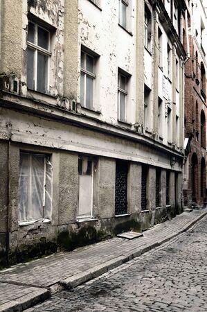 Old dark narrow street photo