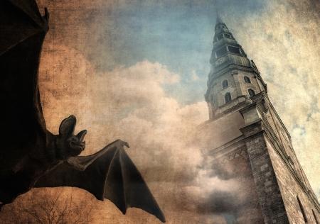 thriller: Mystical background, bat and old castle