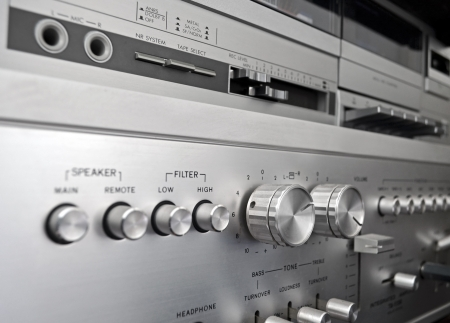 preamp: Vintage amplifier close up, old audio system