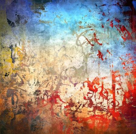 grafitis: Grunge fondo colorido, color azul y rojo