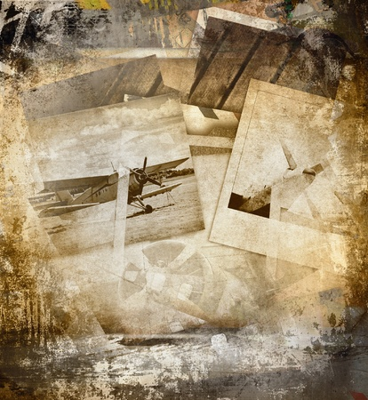 biplane: Retro aviation, grunge background