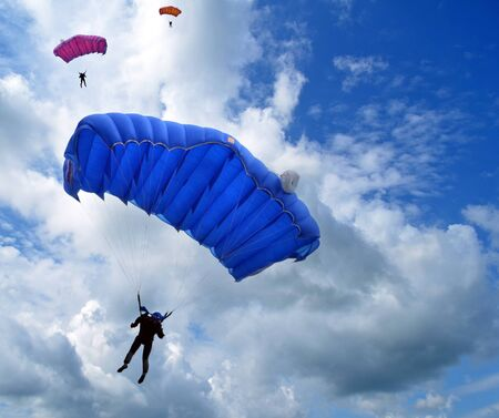 parachute jump: Skydivers in the sky Editorial