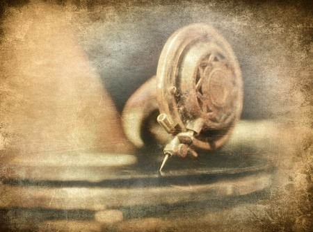 phonograph: Gramophone close up, music vintage illustration