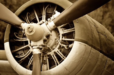 Retro technology, aircraft engine photo