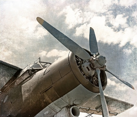 Old aircraft, biplane in retro style photo