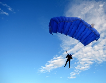 skydive: Parachutist in the sky