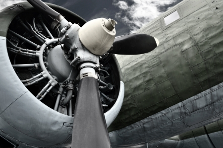 Old aircraft close up photo
