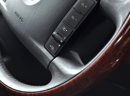 airbag: Modern steering wheel detail close up Stock Photo