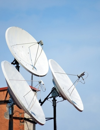 parabolic: Satellite dish antennas