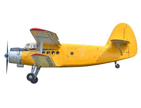 Old biplane isolated on white background photo