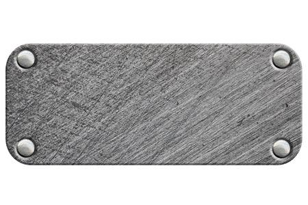 Verkratzt Metallplatte mit Nieten auf weißem Hintergrund