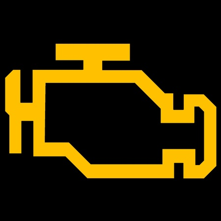 warn: Check engine or malfunction car symbol on black background