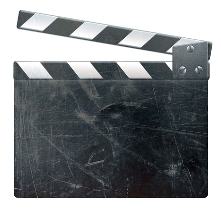 Grunge blank film clapper auf weißem Hintergrund, zerkratzte Oberfläche