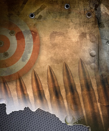 Military background, target with bullets holes photo