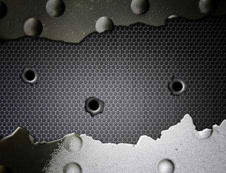 Military background, metal texture bullets holes photo