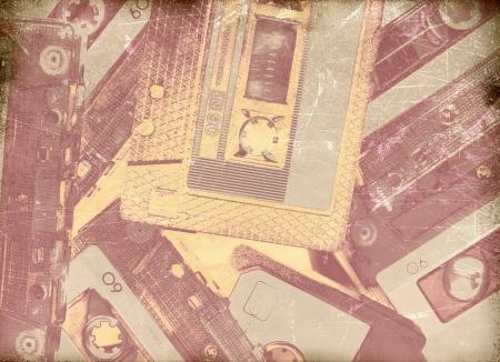 interesting music: Vintage musical background, cassette tape background
