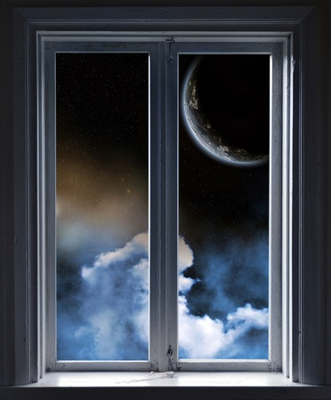 Window, Planet and stars through the window Stock Photo - 20959869