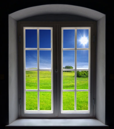 Window view, summer landscape Stock Photo - 20959876