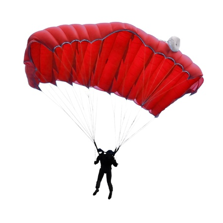 parachute jump: Skydiver on white background Stock Photo