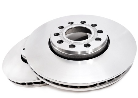 Brake disc on white background photo