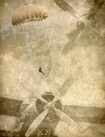 biplane: Grunge military background, retro aviation