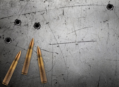 Metal plate with bullet holes Stock Photo - 20952769