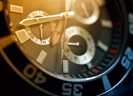 cronógrafo: Reloj de hombre, cronógrafo cerca Foto de archivo