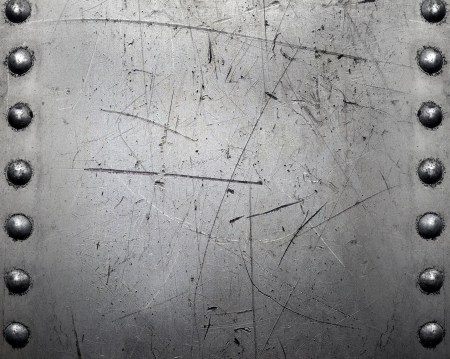 Metal background, riveted metal plate Stock Photo
