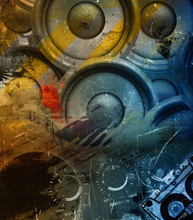 sound system: Abstract grunge music background