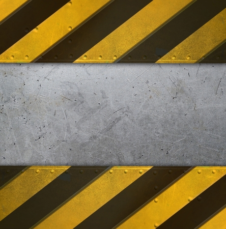 rust': Metal plate with caution stripes