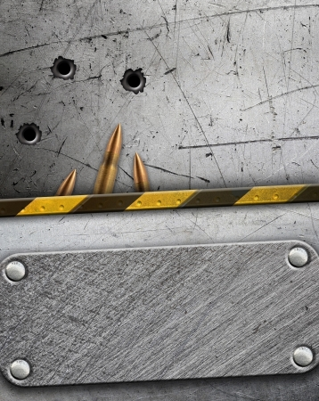 Metal background with bullet holes photo