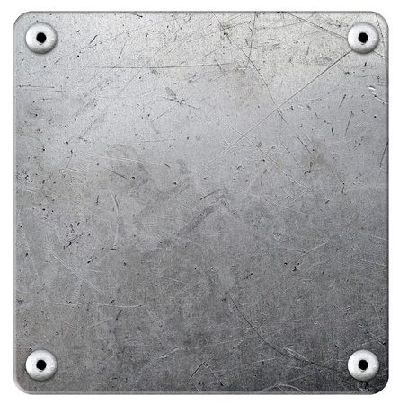 METAL BACKGROUND: Metal plate with rivets on white background Stock Photo