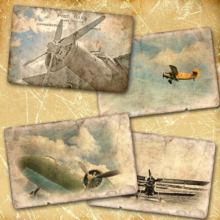 Retro aviation collage photo