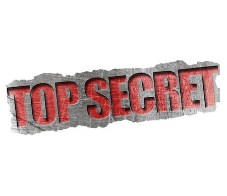 top secret: Top secret metal stamp on white Stock Photo