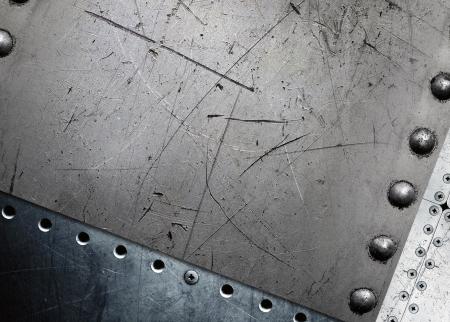 riveted metal: Metal background, riveted metal plate Stock Photo