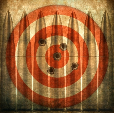 military training: Target with bullets, grunge background