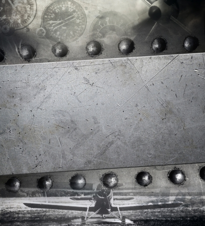 Riveted metal plate, military background photo