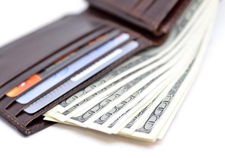 bolsa dinero: Monedero lleno de dinero Foto de archivo