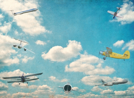 Retro aviation vintage background photo