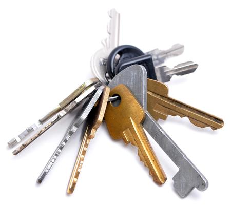 keys isolated: Many keys on white background Stock Photo