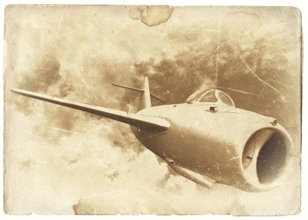 Vintage military postcard, old plane photo
