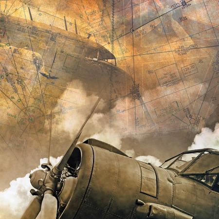 wojenne: Lotnictwo retro backround